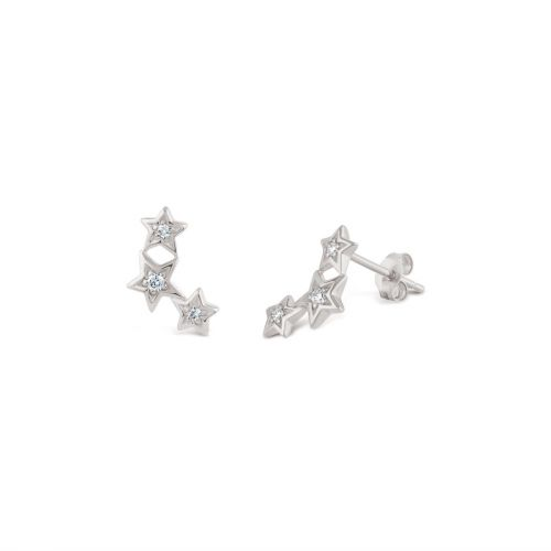 Bijou Solid 14k Gold Star Diamond Stud Earrings