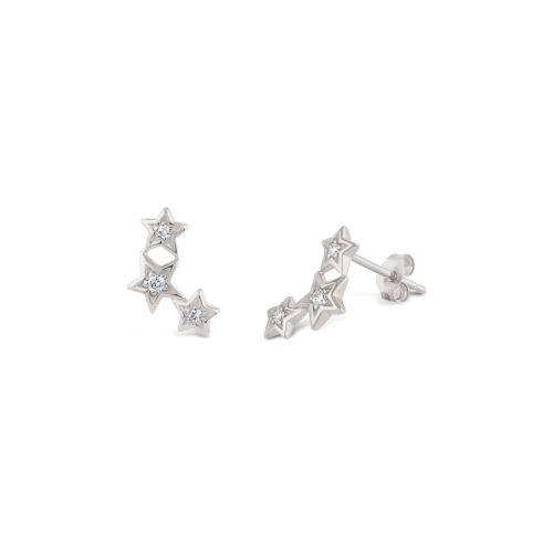 Bijou Solid 14k Gold Star Diamond Stud Earrings