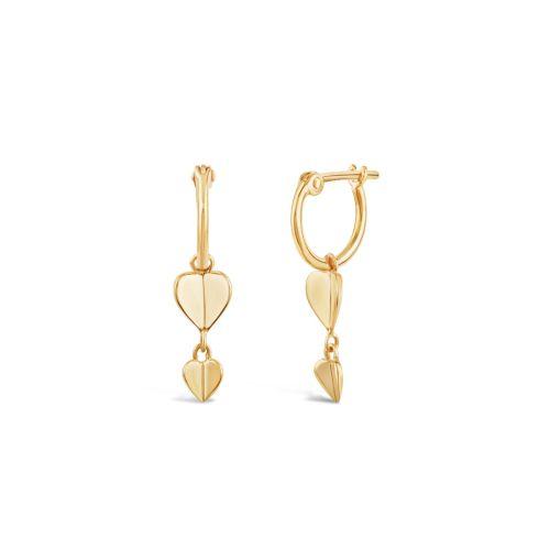 Bijou Solid 10k Gold Folded Heart Drop Hoops