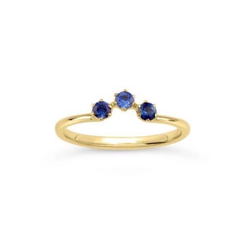 Ellie 18k Gold Cornflower Blue Sapphire Crown Ring