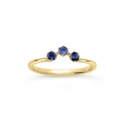 Ellie 18k Gold Fine Blue Sapphire Crown Ring