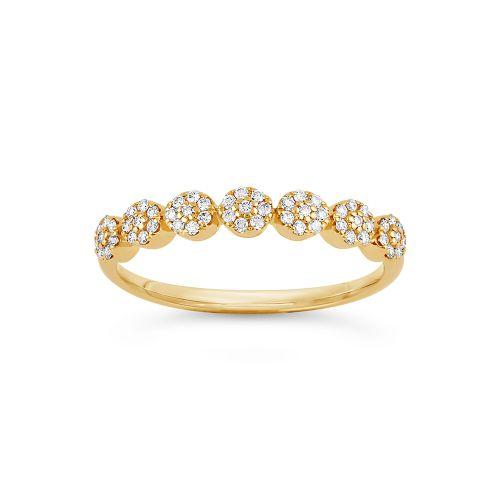 Starflower 14k Gold Diamond Set Half Eternity Ring