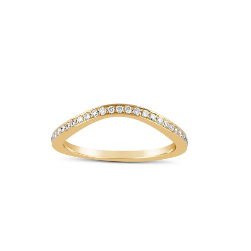 WISHBONE 18K GOLD THREAD SET HALF ETERNITY RING