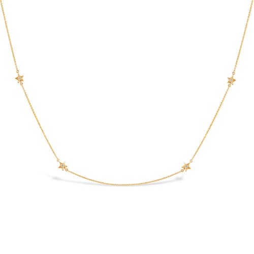 Bijou Solid 14k Gold Star Diamond Necklace