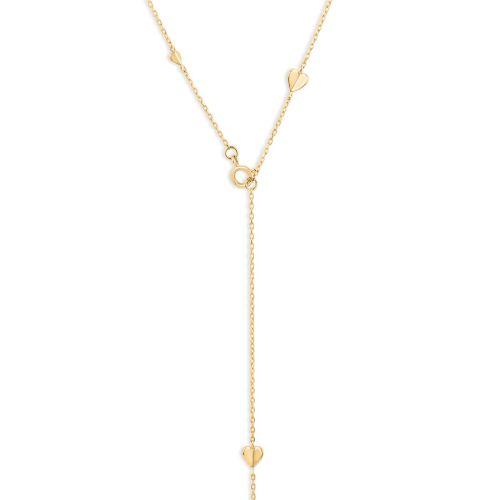 Bijou Solid 10k Gold Folded Heart Lariat