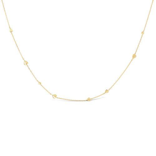 Bijou Solid 10k Gold Folded Heart Necklace