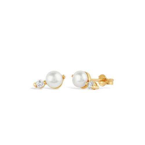 Shuga 14k Gold Double Pearl Studs