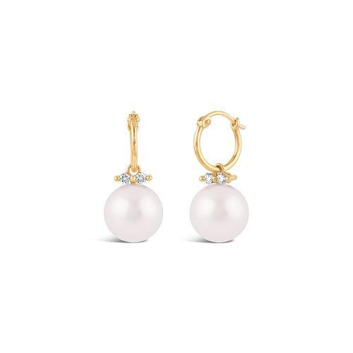 Shuga 14k Large Fine Pearl Drop Hoop Earrings