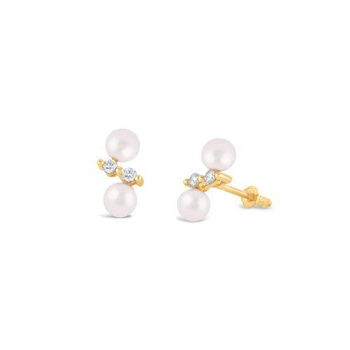 Shuga 14k Double Pearl And Diamond Studs