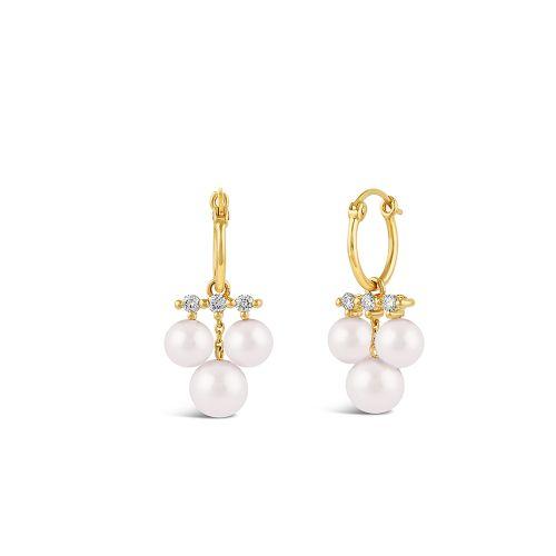Shuga 14k Triple Pearl And Diamond Drop Earrings