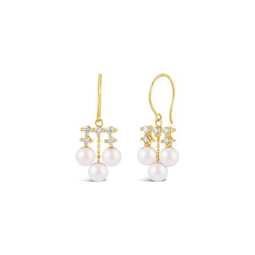 Shuga 14k Pearl And Multi Diamond Chandelier Earrings