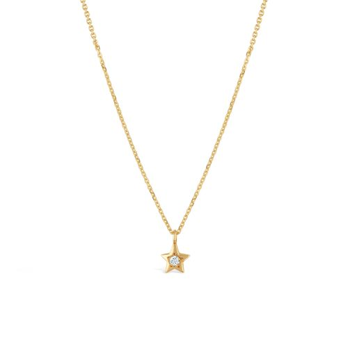 Bijou Solid 14k Gold Star Diamond Pendant
