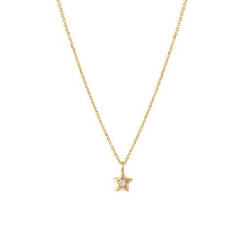 Bijou Solid 14k Gold Star Diamond Pendant