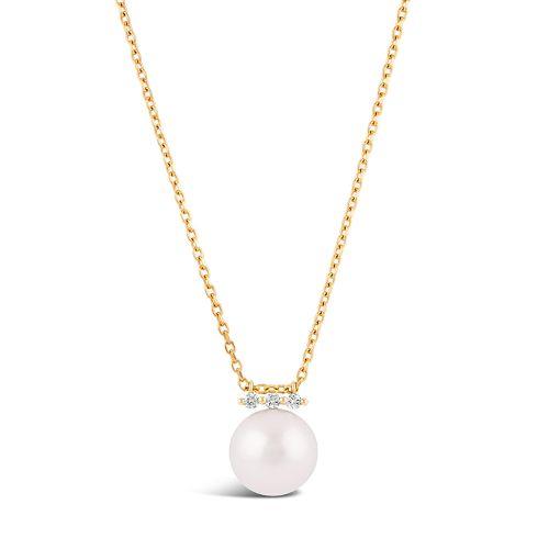 Shuga 14k Large Fine Pearl And Diamond Pendant