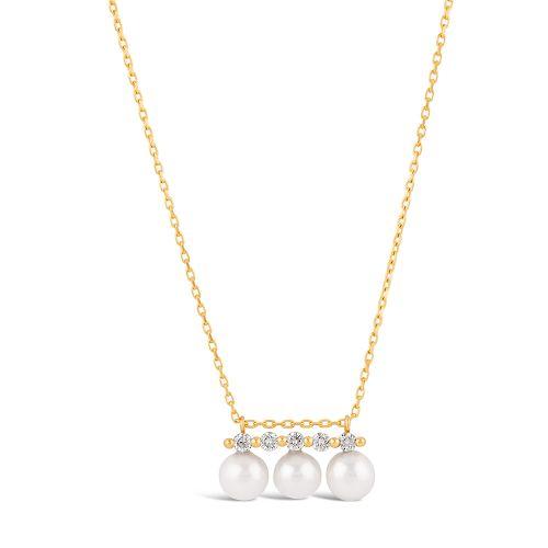 Shuga 14k Triple Pearl And Five Diamond Pendant