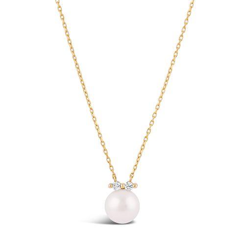 Shuga 14k Pearl And Double Diamond Pendant