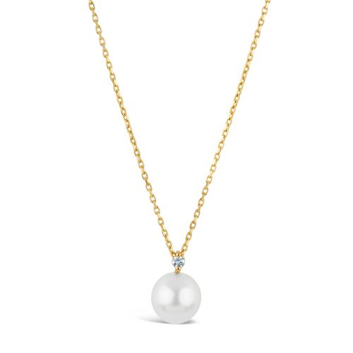 Shuga 14k Gold Diamond & Pearl Pendant