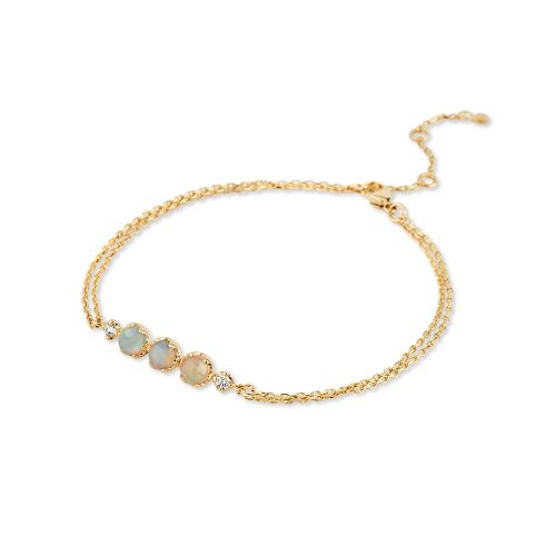 14k Gold Opal and Diamond Wristlet