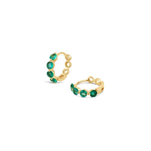 Shuga 14k Gold Emerald Huggie Hoops