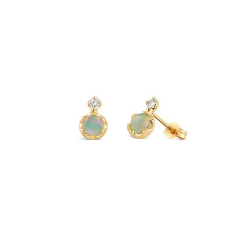 14k Gold Double Opal and Diamond Studs