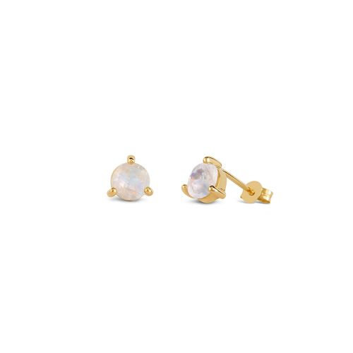 14k Gold Moonstone Stud Earrings