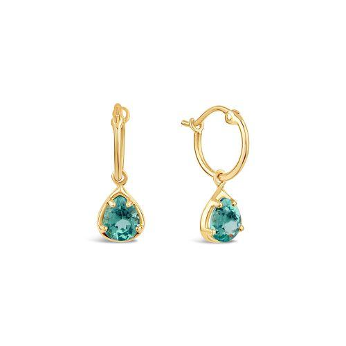 14k Gold Apatite Drop Hoop Earrings