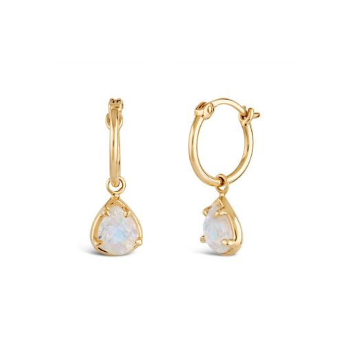 14k Gold Moonstone Drop Hoop Earrings