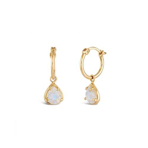 14k Gold Moonstone Drop Hoop Earrings
