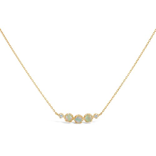 14k Gold Opal and Diamond Scoop Necklace