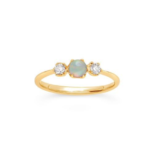 14k Gold Opal and Diamond Trilogy Ring