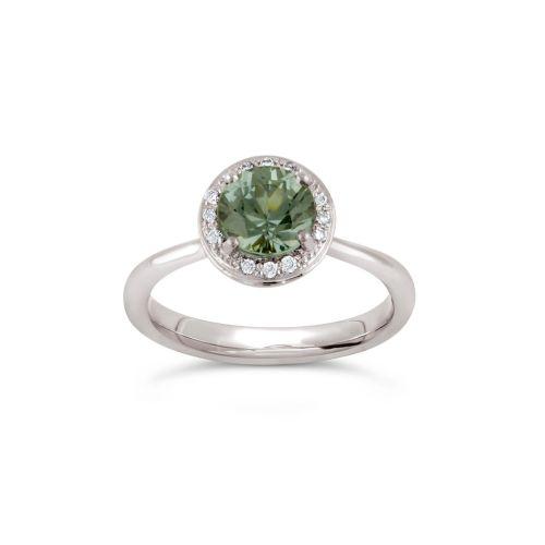 Sheba Round 18k Gold Fine Green Sapphire and Brilliant Cut Diamond Ring