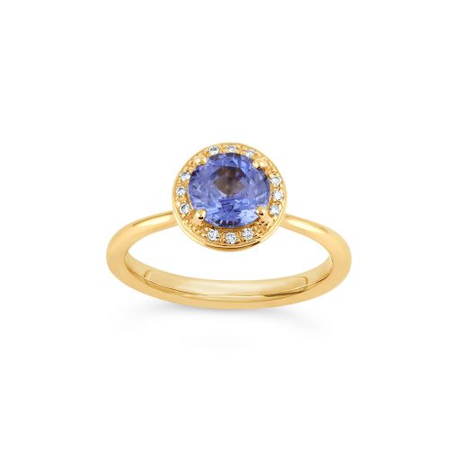 Sheba Round 18k Gold Blue Sapphire and Brilliant Cut Diamond Ring