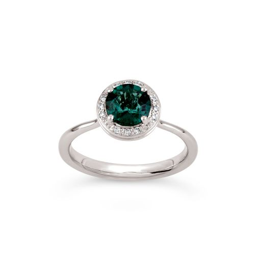 Sheba Round 18k Gold Fine Green Tourmaline and Brilliant Cut Diamond Ring