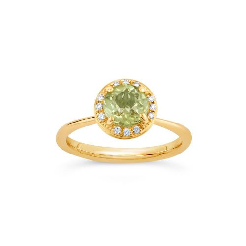 Sheba Round 18k Gold Pale Green Tourmaline and Brilliant Cut Diamond Ring
