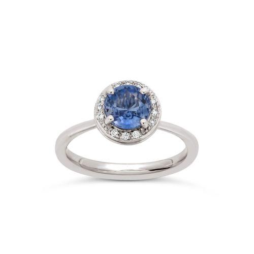 Sheba Round 18k Gold Fine Cornflower Blue Sapphire and Brilliant Cut Diamond Ring