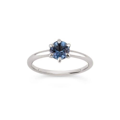 Lily 18k Gold Fine Steel Blue Montana Sapphire Ring
