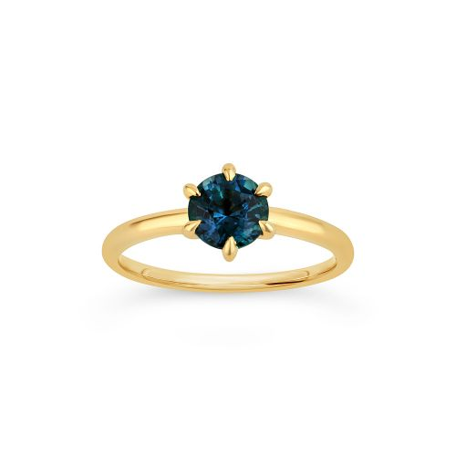 Lily 18k Gold Fine Teal Sapphire Ring