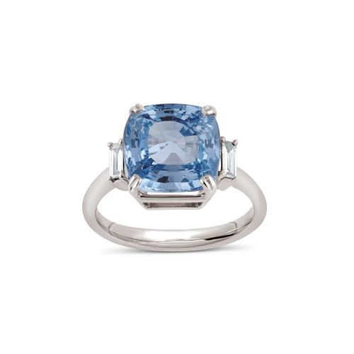 MAE WEST 18K FINE BLUE SAPPHIRE AND BAGUETTE CUT DIAMONDS