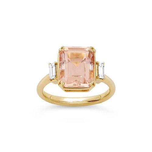 Mae West 18K Gold Fine Cinnamon Tourmaline and Baguette Cut Diamond Ring