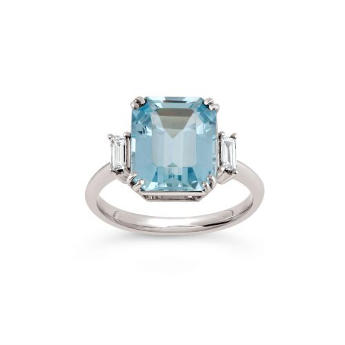 Mae West 18k Gold Fine Aquamarine and Baguette Cut Diamond Ring