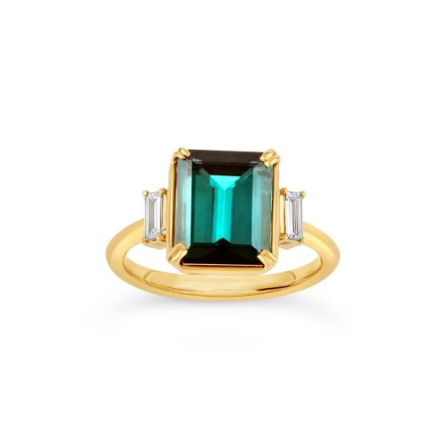 Mae West 18K Gold Fine Green Tourmaline and Baguette Cut Diamond Ring