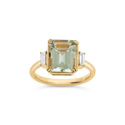 Mae West 18K Gold Fine Green Beryl and Baguette Cut Diamond Ring