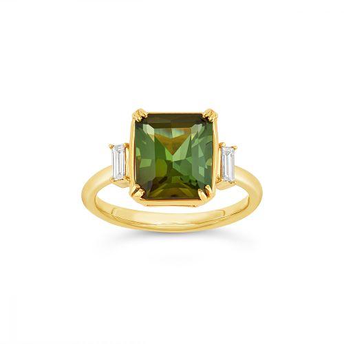 Mae West 18K Gold Fine Green Tourmaline and Baguette Cut Diamond Ring