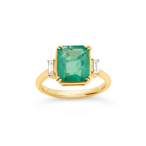Mae West 18K Gold Emerald and Baguette Cut Diamond Ring