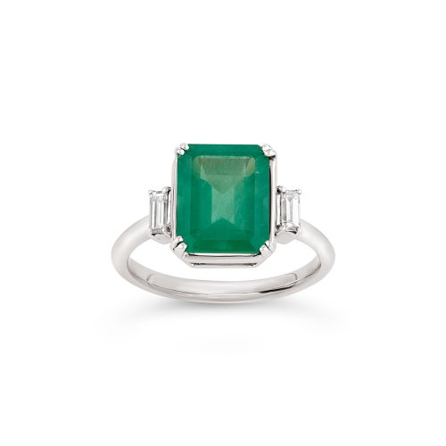 Mae West 18K Gold Fine Emerald and Baguette Cut Diamond Ring