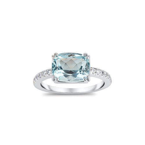Laura 18k Gold Fine Aquamarine and Brilliant Cut Diamond Ring