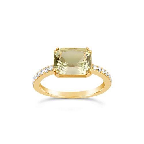 Laura 18k Green Beryl and Brilliant Cut Diamond Ring