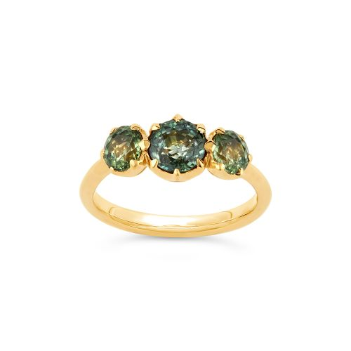 Elyhara 18k Gold Medium Trilogy Fine Green Sapphire Ring