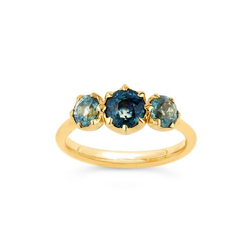 Elyhara 18k Gold Medium Trilogy Fine Teal Sapphire Ring