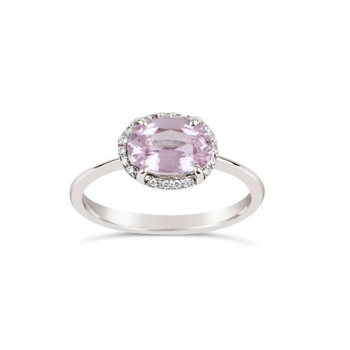 Mia 18K Gold Fine Pink Sapphire and Brilliant Cut Diamond Ring